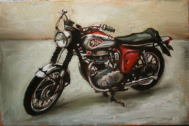BSA motorcycle - oil on canvas- 20 x 30 inches - available #vintage…