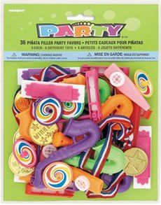 Festive Pinata Filler (36/pkg) by PartyCheap.com. $9.99. Instead of filling your party pinata with candy, try spicing it up with some of this great Festive Pinata Filler. The Festive Pinata Filler is a great mix of toys and surprises for filling any theme party pinata. If you are just looking for an assortment set of party favors for filling goodie bags, the Festive Pinata Filler is right down your alley. This Festive Party Filler contains a total of 36 party favo...