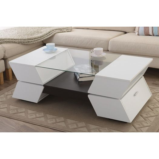 Contemporary and practical living room coffee table. Discover more: coffeeandsidetables.com | #contemporarycoffeetable #moderncoffeetable #coffeetablewithstorage