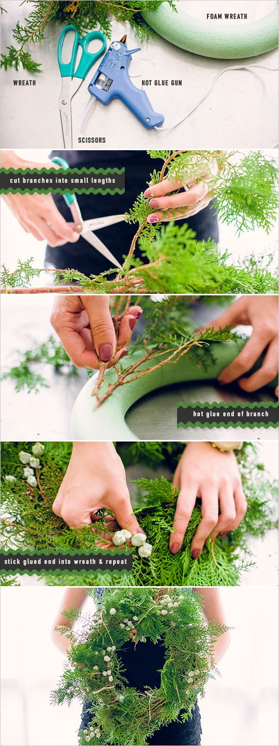 Pep up your front step with your own DIY holiday wreath! #cloudparade #diy #stepbystep #christmas http://www.weddingchicks.com/2013/12/06/how-to-make-a-wreath/
