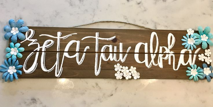 Zeta Tau Alpha Wooden Board Sign