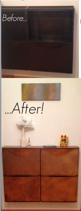 #Makeover my boring black #Trones shoe #cabinets #DIY superpowers #Ikea #Hacks