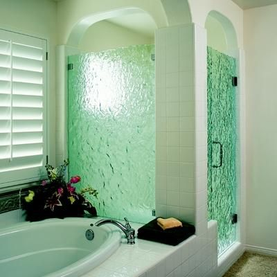 I like these shower doors much better than clear glass