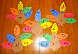 word family turkeys, could do this with equivaleny in math_ fractions, math facts, etc... Could change it up for seasons too