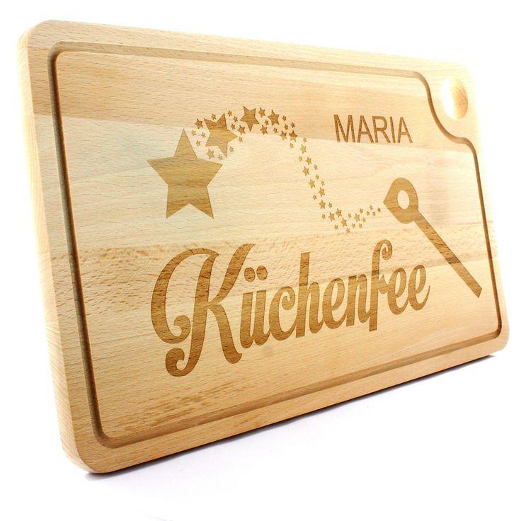 """Holz Schneidebrett - Grillbrett - Modell: Küchenfee -   Das Brett wird mit Ihrem Namen oder persönlichen Wunschtext speziell für Sie graviert.  So wird es zu einem absoluten Unikat.  Abgerundet wird das Holzbrett mit dem gravierten """"Küchenfee"""" Schriftzug sowie dem Kochlöffel als Zauberstab.  #Küche #Schneidebrett #Holz #Buche #Geschenk #Gravur #Zauberstab"""