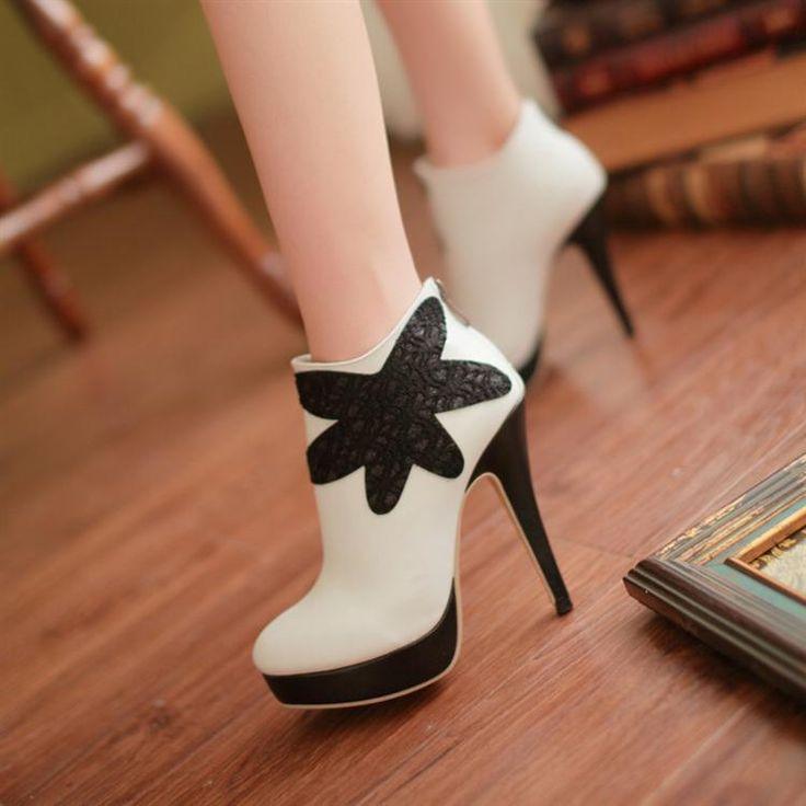 Высокие Каблуки Женщины Платформа Высокие Каблуки Обуви Весна Осень Черные Туфли с Застежкой-Молнией Белый 34-39 C-08