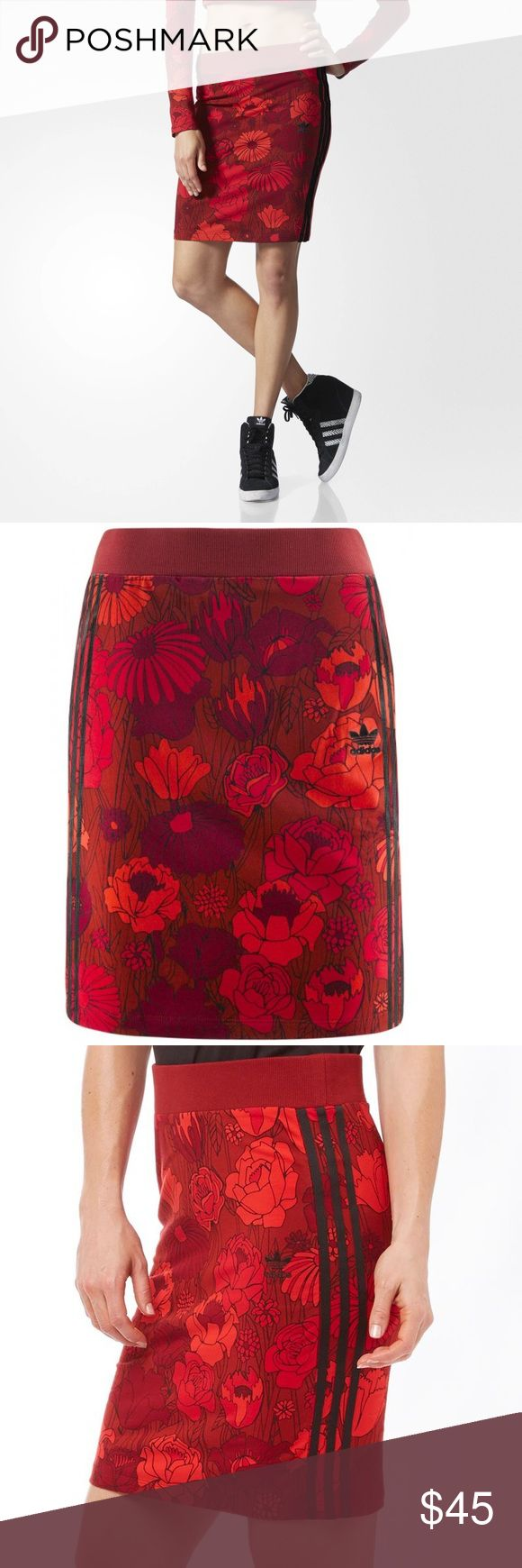 New Adidas Originals Red Floral Midi Skirt Brand new Adidas