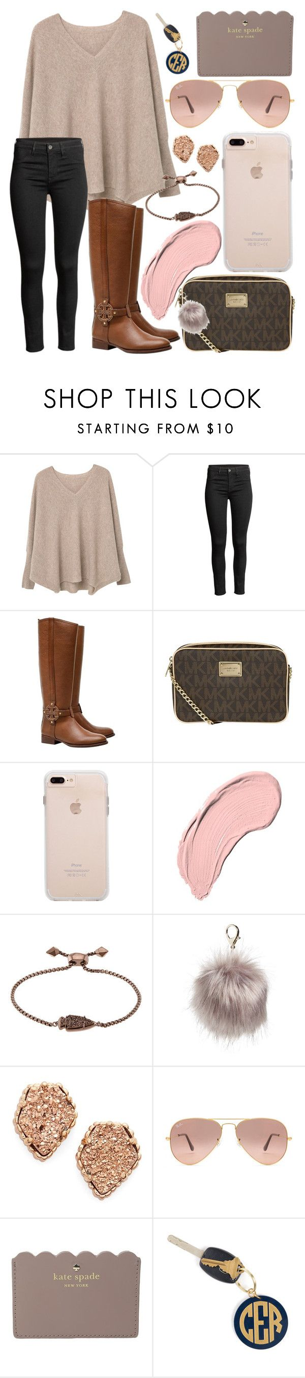 """""""It's cold outside"""" by jadenriley21 ❤ liked on Polyvore featuring MANGO, Tory Burch, MICHAEL Michael Kors, NYX, Kendra Scott, Nila Anthony, Ray-Ban, Kate Spade and Hartford"""