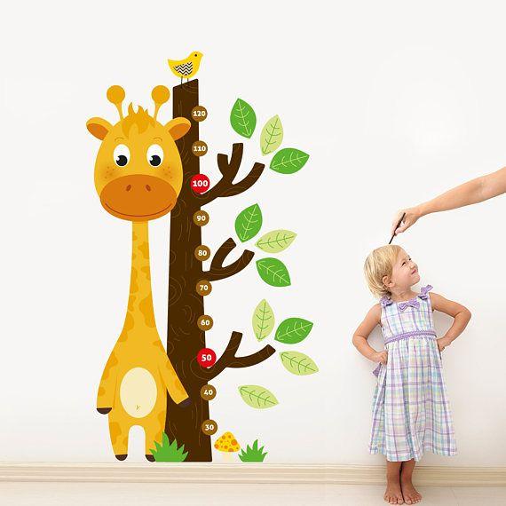 Giraffe Growth Chart Wall Decal Sticker Set  Height Chart Boy