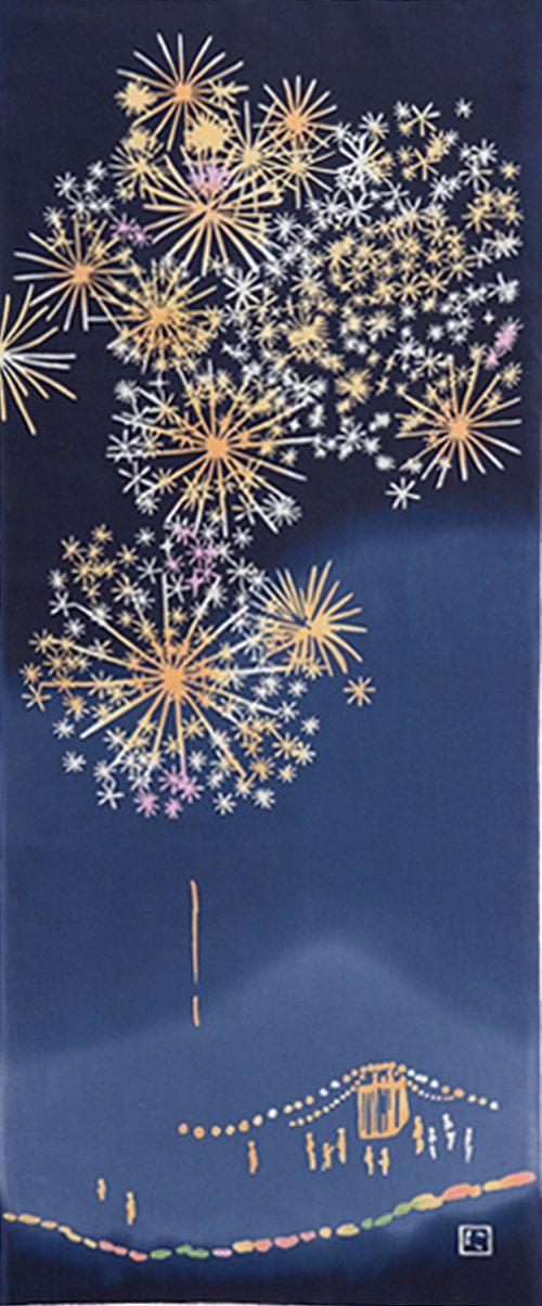 Japanese Tenugui Cotton Fabric, Summer Night Firework Festival, Hand Dyed Fabric, Home Decor Wall Art, Wall Tapestry, Fashion Fabric, JapanLovelyCrafts