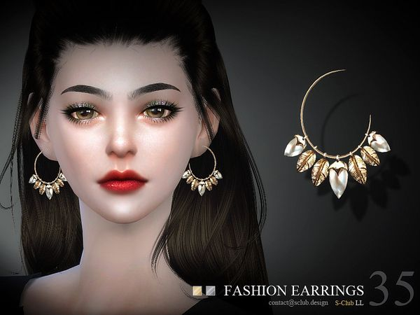 Earrings N35 by S-Club LL at TSR • Sims 4 Updates