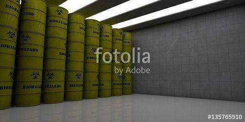 """Téléchargez la photo libre de droits """"Barrels with biological waste in a room (3d rendering)"""" créée par RegenerationX au meilleur prix sur Fotolia.com. Parcourez notre banque d'images en ligne et trouvez l'image parfaite pour vos projets marketing !"""