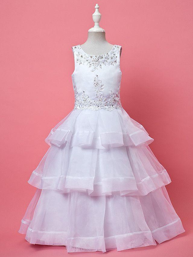 lanting bruid ® a-lijn / baljurk enkellange bloem meisje jurk - organza mouwloze juweel met appliques - EUR €68.59