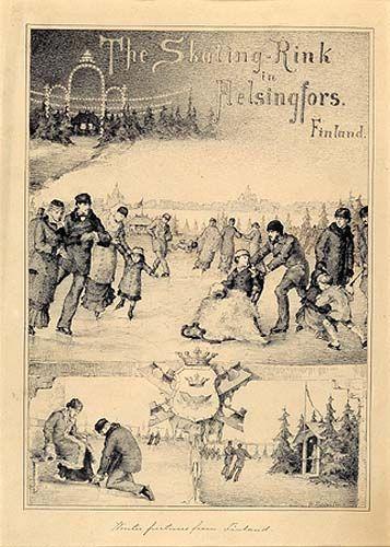 Helene Schjerfbeck. Pohjoisrannan luistinrata 1880. Tussipiirustus. Pohjoissataman jäälle oli avattu 1870-luvun puolivälissä nopeasti suosituksi tullut talvinen kohtauspaikka, sähköllä valaistu luistinrata. Musiikista huolehti Suomen Kaartin soittokunta, ja luistelun lomassa saattoi nauttia virvokkeita. Radalla järjestettiin myös pika- ja taitoluistelukilpailuja.