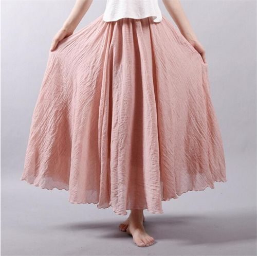 Ankel lang nederdel i let bomuld fra CharBen