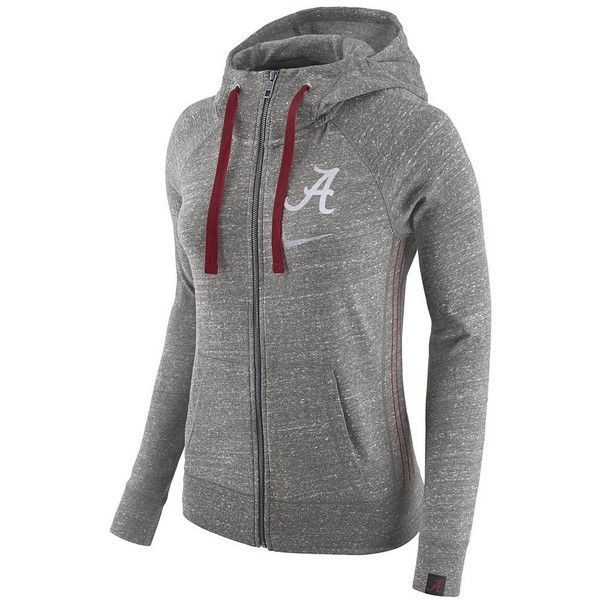 Women's Nike Alabama Crimson Tide Vintage Full-Zip Hoodie ($56) ❤ liked on Polyvore featuring tops, hoodies, grey, nike hoodie, vintage hoodies, vintage hoodie, full zip hoodies and zip front hoodie