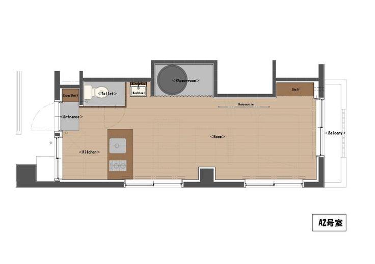 rehome, small apartment idea 石川さん家のお風呂(間取り図)