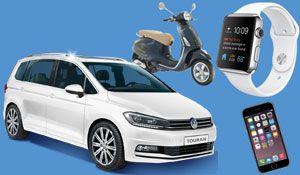 Gewinne mit Coop Pronto Double Win einen #VW Touran im Wert von CHF 45'000.- , 50 mal eine #AppleWatch, 25 mal ein Apple #iPhone6, 5 mal eine #Vespa Primavera, 20 mal einen König Grill, sowie 250 Coop Gutscheine. http://www.alle-schweizer-wettbewerbe.ch/apple-watch-iphone6-vespa-grill-und-auto-gewinnen/