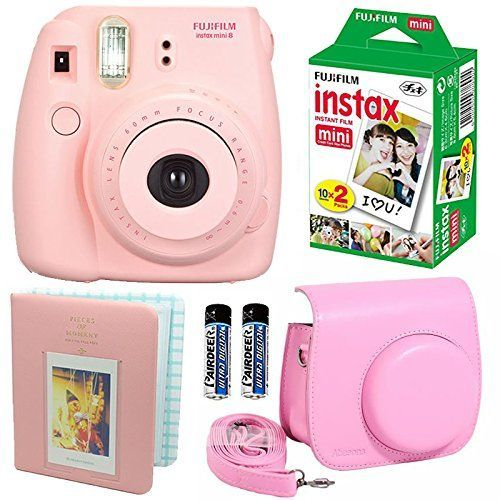 Fujifilm Instax Mini 8 Instant Film Camera Pink   Fujifilm Instax Mini Instant Film Twin Pack (20 Sheets)   Pink PU leather Case With Photo Album 64 Pockets Pink Value Set Bundle (4 item) ** Want to know more, click on the image.
