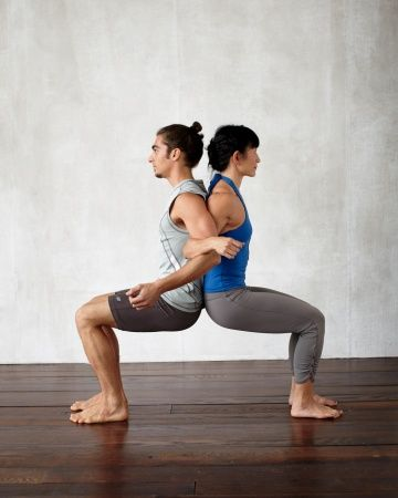Back-to-Back Chair Benefits: Strengthens quads and improves posture. How to Do It: Stand with backs touching; link elbows. Feel and match your partner's breath. Press against each other's back and walk your feet forward, keeping your sacrum and spine touching your partner's, until you're in a sitting position (no lower than 90 degrees). Hold the pose for 2 to 3 breaths; slowly return to standing. To Go Deeper: Carefully rise and lower repeatedly for an added strengthening challenge.