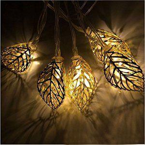 Xcellent Global Guirlande lumineuse en forme de feuille de métal jaune 12 LED 2 modes LED solaire, ornement pour le jardin, Noël, mariage,…