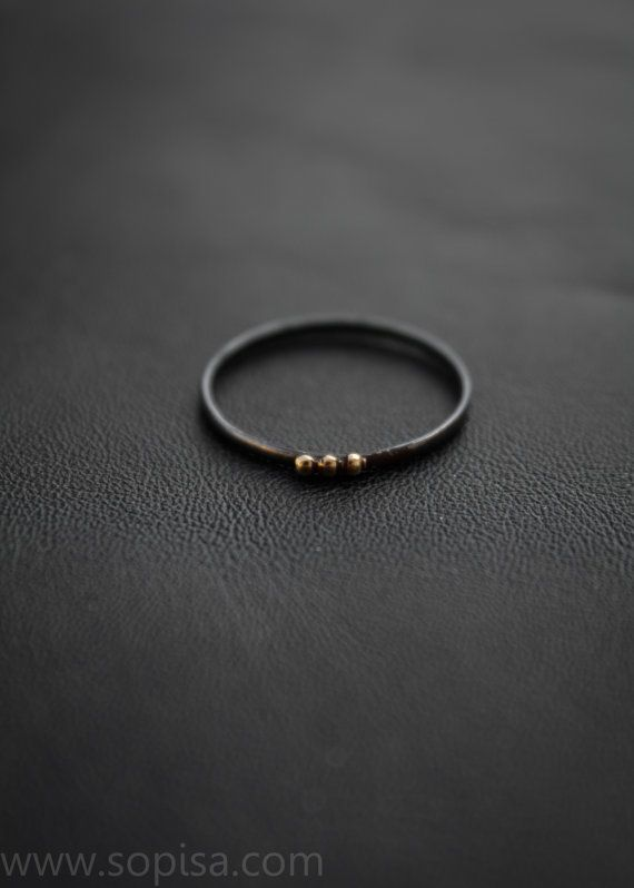Handmade unique oxidized sterling silver ring by SopisaJewelry