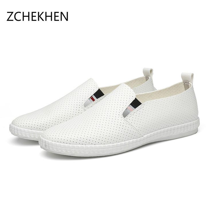 Men loafers Shoes 2017 Fashion Summer Men's Business Casual Shoes soft leather Sandals Breathable Hollow Mens white Flat Shoes