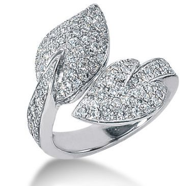 14K Leaf Design Round Brilliant Diamond Anniversary Ring (1.22ctw.)