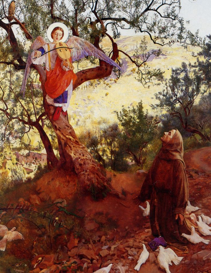 Saint Francis of Assisi and the Heavenly Melody - Frank Cadogan Cowper  Pre Raphaelite Art