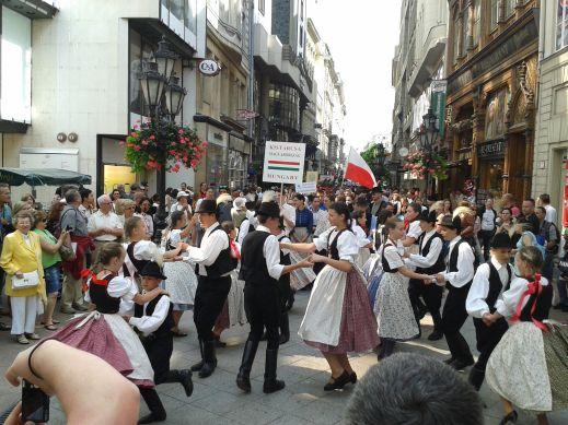 """Street """"fiesta"""" in Vaci Utca, Budapest"""