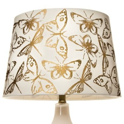 threshold butterfly gold foil lamp shade cream large. Black Bedroom Furniture Sets. Home Design Ideas