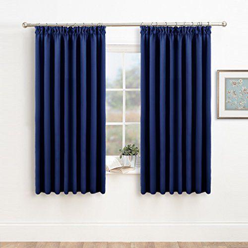 Plain blue curtains bedroom
