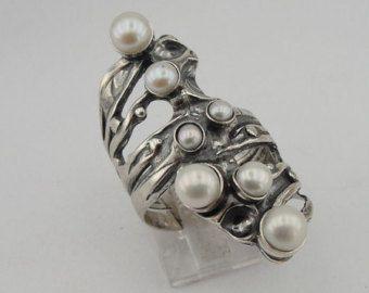Israël design 925 argent Sterling filigrane bande par hadarjewelry