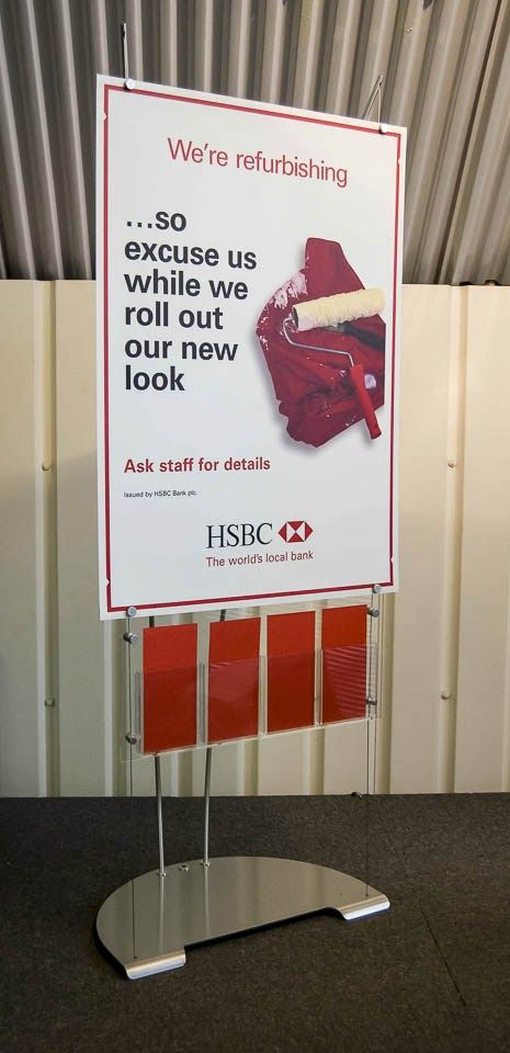 Floor standing Banner and Brochure Display Stand HSBC