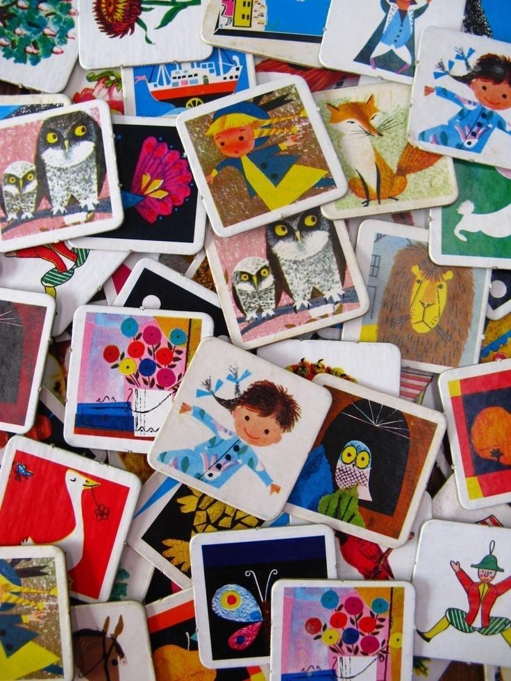 vintage game pieces - cute cardboard game via Etsy.
