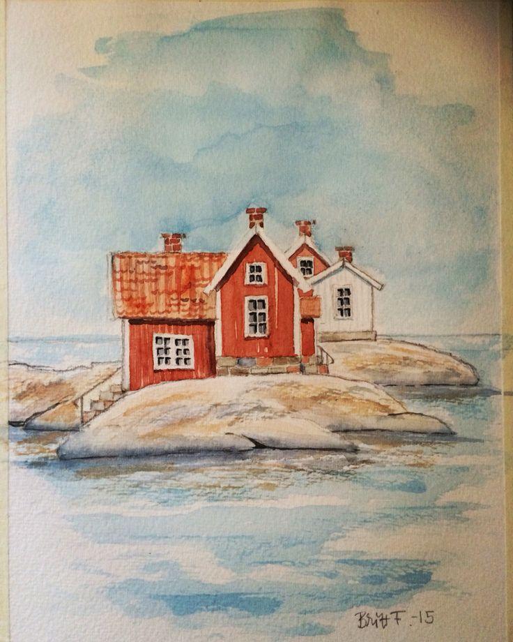 Akvarell av Britt Fegraeus.