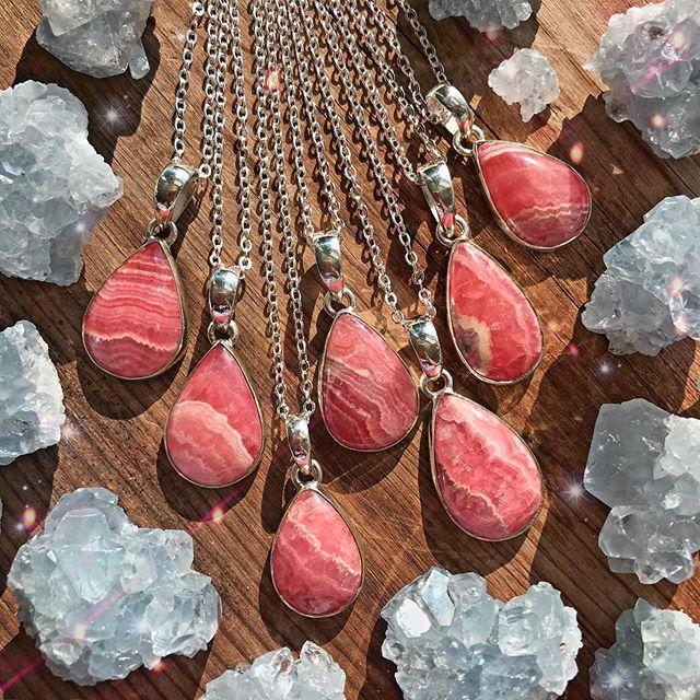 Rhodochrosite Necklace Sterling Silver Unique Healing Pendant Necklace Gift Idea