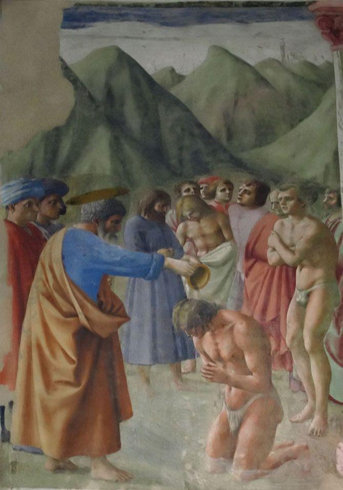 Brancacci Chapel - Florence. Masaccio - Baptism of the Neophytes.