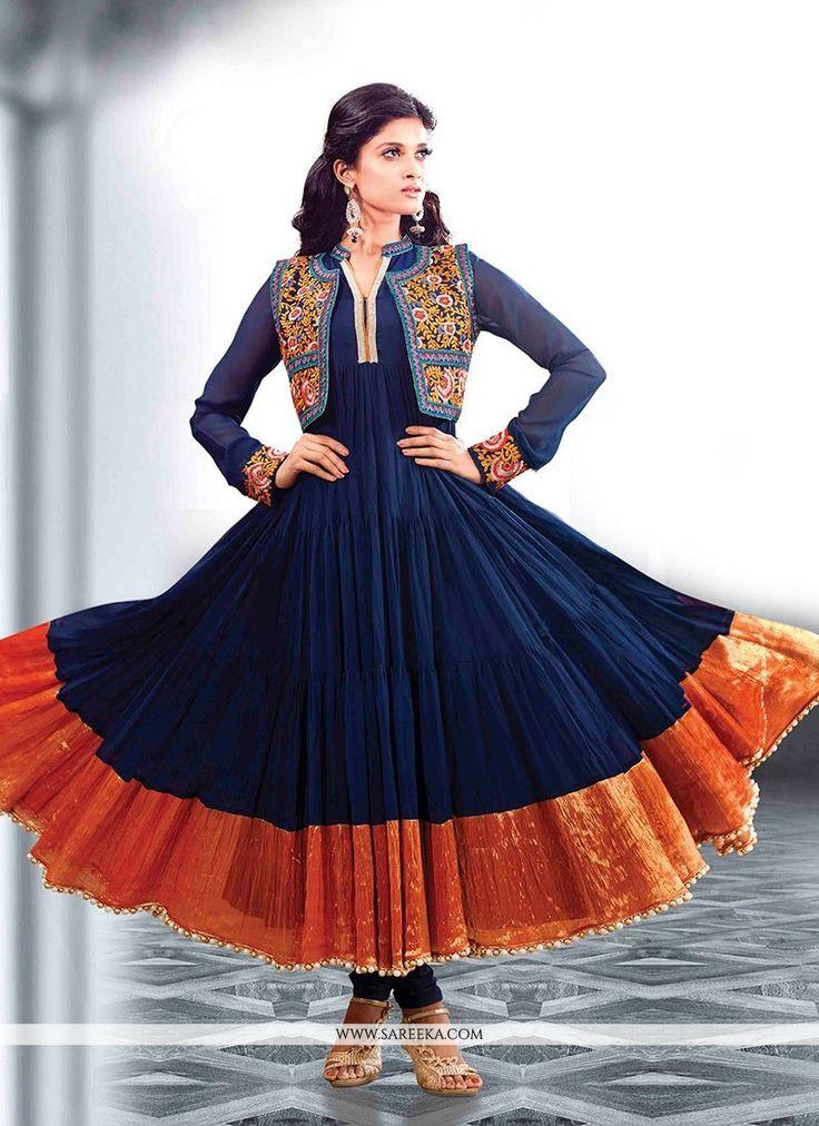 Dazzling Blue Faux Georgette Anarkali Salwar Kameez