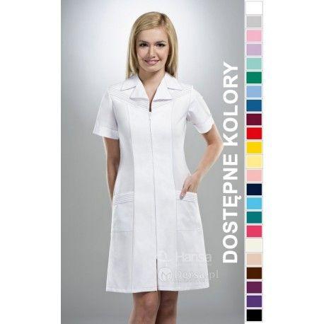 Dobrej jakości i wygodna odzież medyczna, to niezawodny atrybut każdego lekarza, pielęgniarki, czy farmaceutki. | Fartuch medyczny damski Hansa 0030. |