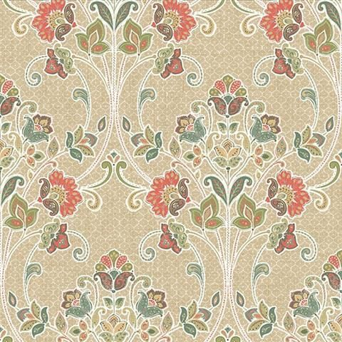 Coral Willow Nouveau Floral Wallpaper
