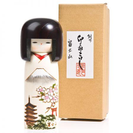 Mount Fuji Japanese Wood Kokeshi Doll