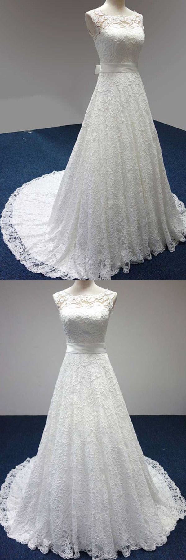 Bateau A-Line Lace Sash Bowknot Sleeveless Wedding Dress WD158 #weddingdress #dreamwedding #bridalgown