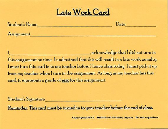 Late Work Card 15 cards Behavior & by MultiLevelPrinting on Etsy, $4.25