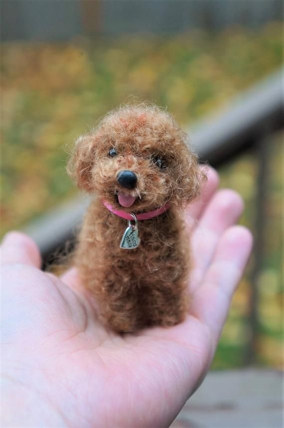 Needle Felted Dog Toy Poodle Red Brown Black Wool Poodle