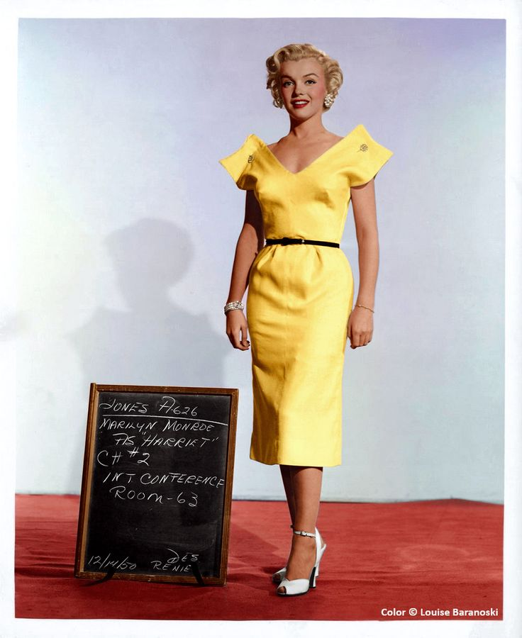 Marilyn Monroe black and white wardrobe test shot for movie As Young As You Feel, colorized by Louise Baranoski.