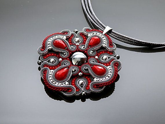 Dark red and graphite Soutache necklace with Haematite. by ANBijou