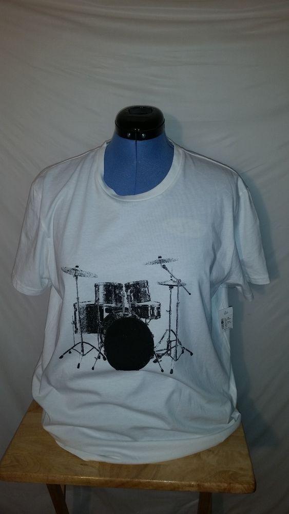 NWT Mens RED Saks Fifth Avenue White Short Sleeve Drum Set Graphic T Shirt XL #SaksFifthAvenue #GraphicTee