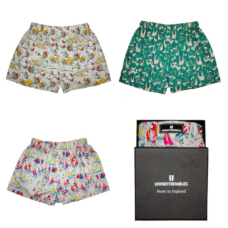 Unmentionables Boxers available at Gunn Line. British cotton patterned boxers in three different prints. Made in England. A great present or gift. Available at www.gunnline.co.uk/collections/mens-underwear