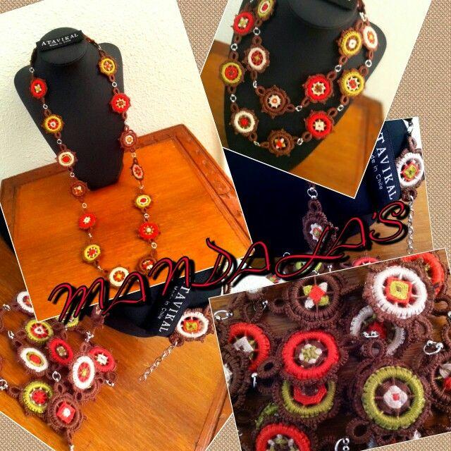 Mandalas everywhere! Collar hecho a mano, 100% algodón. Mandalas únicos en cada pieza, con terminación frivolité.